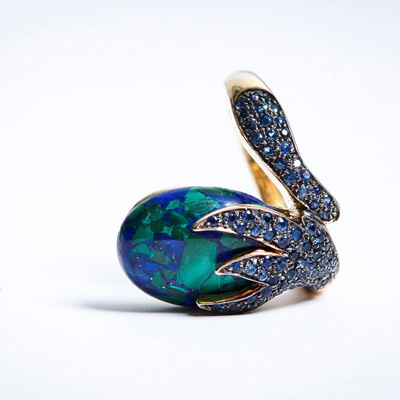 Inspired by nature the sea and trees we capture. Gold Ring with Azurmalachite and Blue Sapphire stones 18ct Yellow Gold with 1.36ct of Sapphire – Price upon request