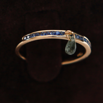 Gold Half Sapphire Eternity Thumb Ring with a green Tourmaline 18ct gold with 0.23ct of Blue Sapphire