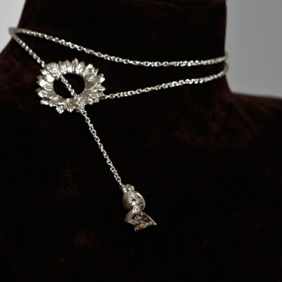 Multiple use multiplies the charm. My sun flower Silver necklace with black diamond and citrine Best Friend Bunny wear it as you like it 0.09 black diamond + 0.1 Citrine