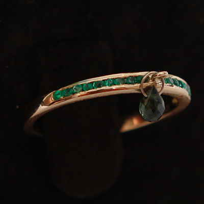 Gold Half Emerald Eternity Thumb Ring with a Green Tourmaline 18ct gold with 0.23ct of Green Emerald
